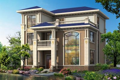 农村三层欧式风格别墅设计图,复式中空客厅13.5×12米