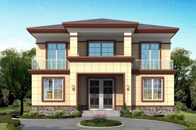 简单清新二层自建小楼房别墅设计图,占地125平方米左右
