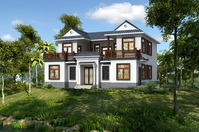 小户型中式二层四合院别墅设计图,造价比较低