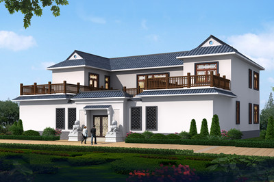 新款农村二层四合院别墅设计图,300平方米左右