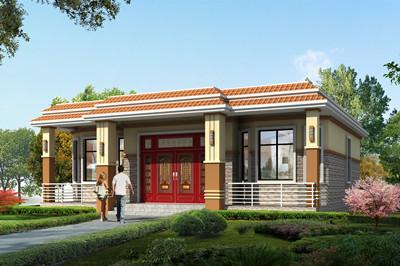 乡村一层平屋顶房子别墅设计全套图纸,单层平房推荐户型