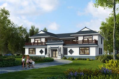 二层新中式四合院自建房别墅设计图,占地270平方米左右