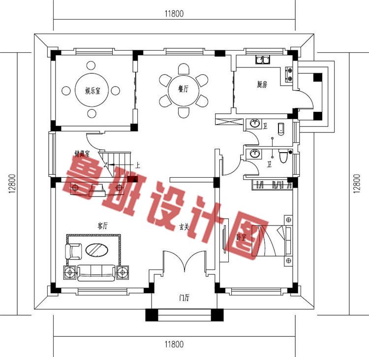 现代简约二层小别墅设计一层户型图