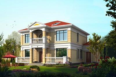 简单实用二层半楼房别墅设计图,外观清新明亮