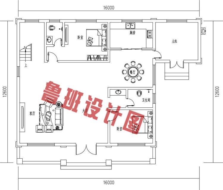 简单实用二层别墅设计一层户型图