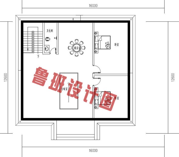 简单实用二层别墅设计阁楼户型图