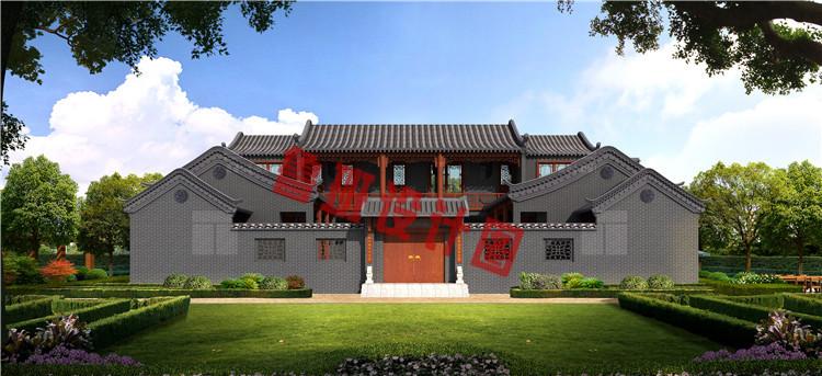 23米x21米二层四合院别墅设计效果图