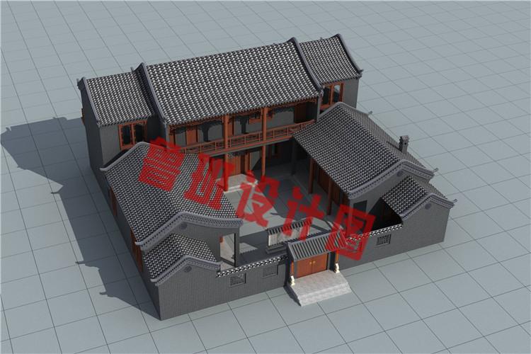 23米x21米二层四合院别墅设计图片