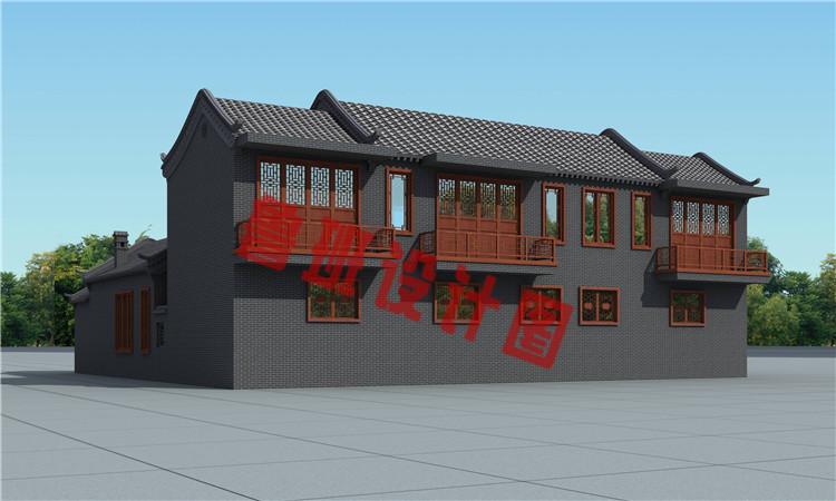 23米x21米二层四合院别墅设计外观图