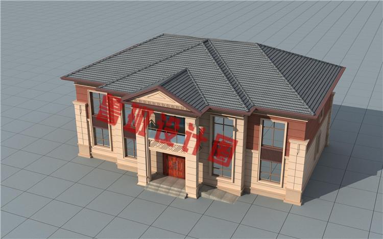 高端大气二层欧式别墅设计鸟瞰图