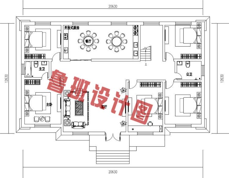 高端大气二层欧式别墅设计一层户型图