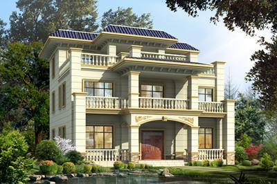 170平方米农村欧式平屋顶三层别墅设计图,外观简洁大方