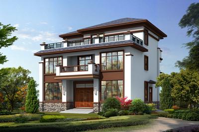 新中式农村三层别墅设计图,110平外观配色沉稳大气