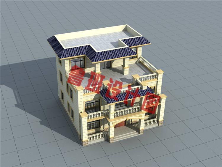 170平方米农村欧式平屋顶三层别墅设计图片