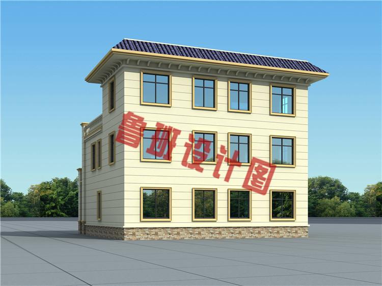 170平方米农村欧式平屋顶三层别墅设计外观图