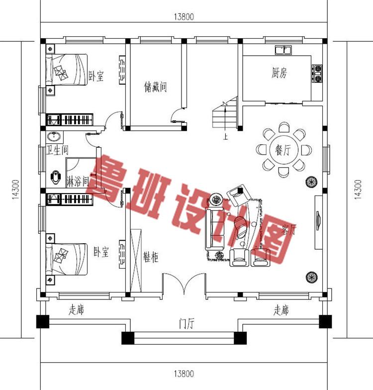 170平方米农村欧式平屋顶三层别墅设计一层户型图
