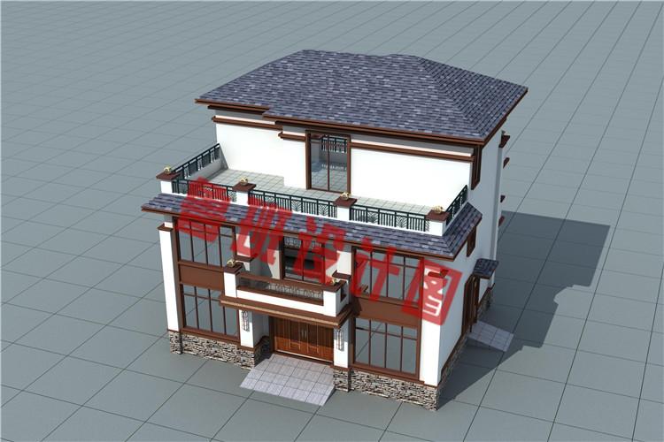 新中式农村三层别墅设计外观图