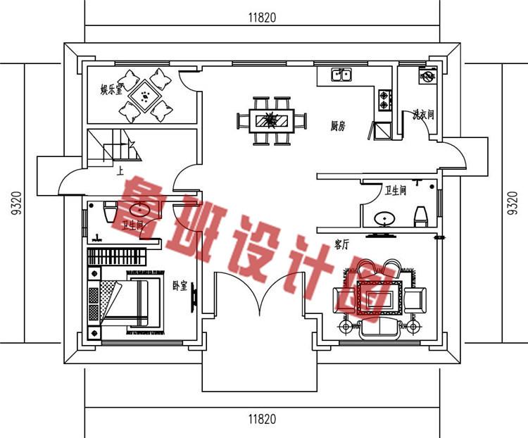 新中式农村三层别墅设计一层户型图
