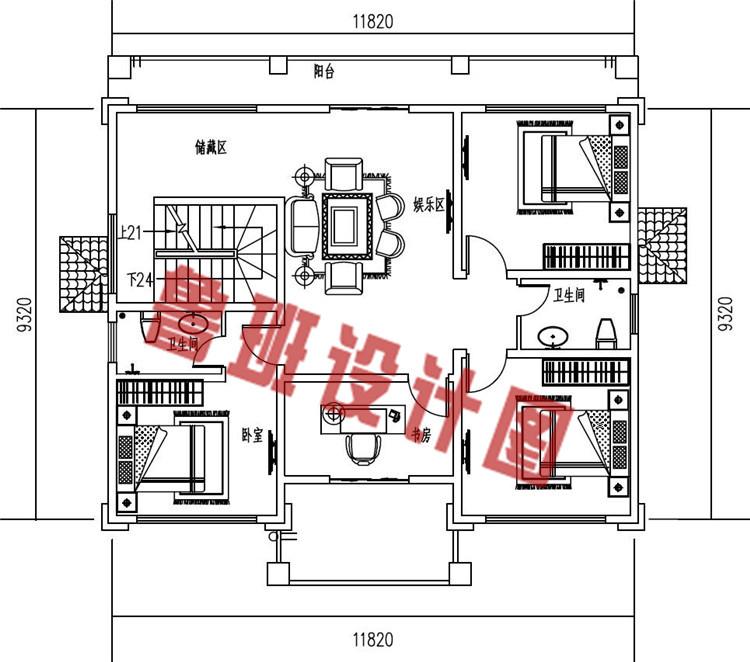 新中式农村三层别墅设计二层户型图