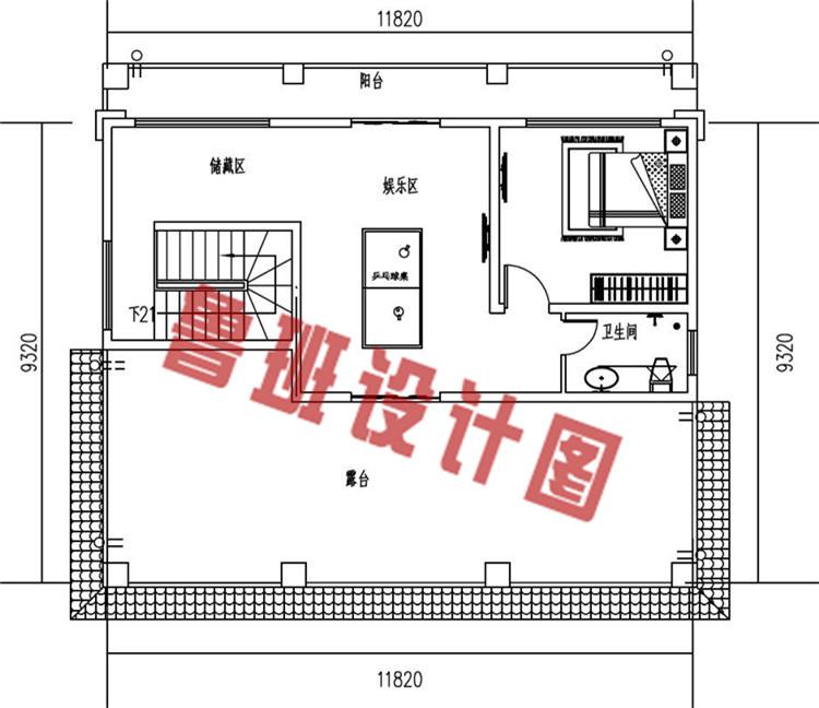 新中式农村三层别墅设计三层户型图