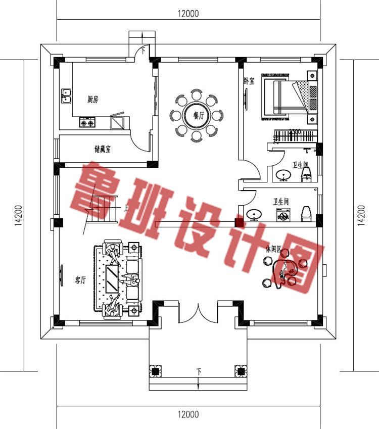 新款三层欧式复式别墅设计一层户型图
