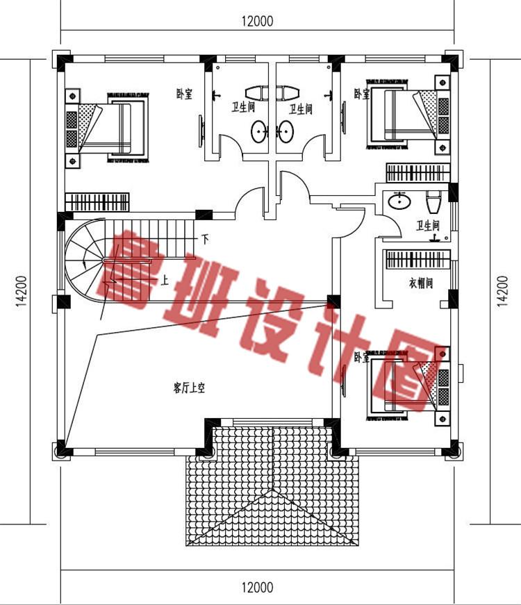 新款三层欧式复式别墅设计二层户型图