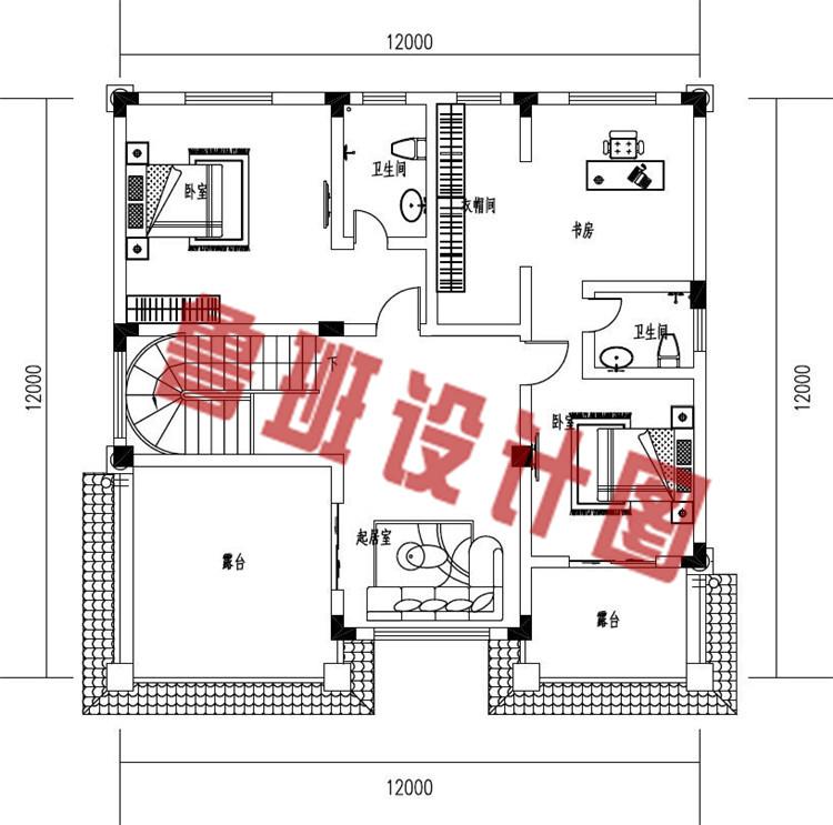 新款三层欧式复式别墅设计三层户型图