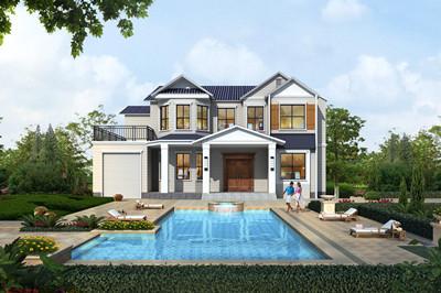 农村高端4间二层带车库别墅设计图,外观高端大气