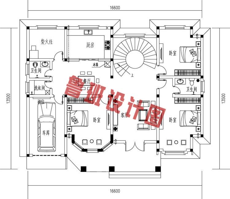 农村新款二层带车库别墅设计一层户型图