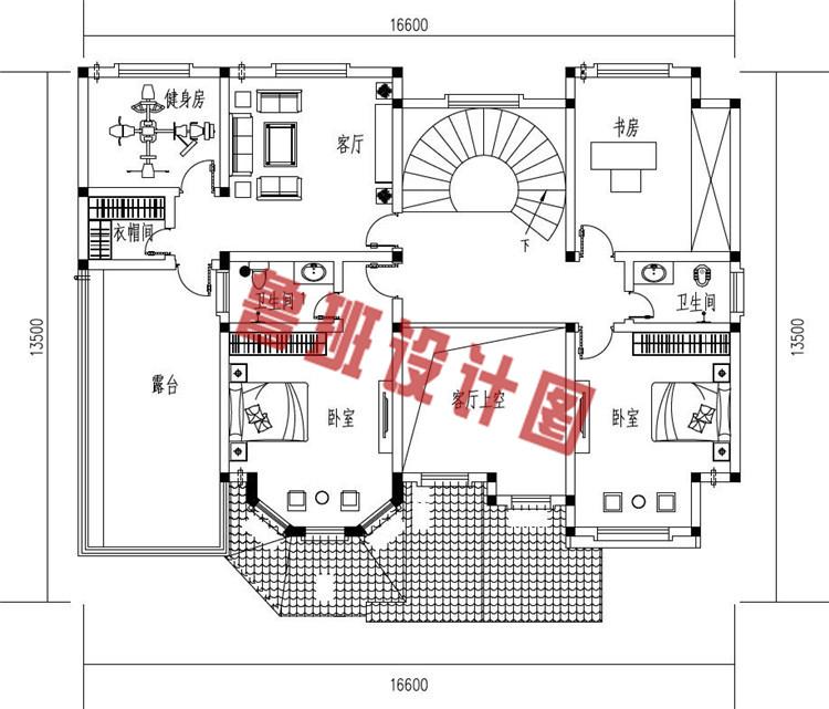 农村新款二层带车库别墅设计二层户型图