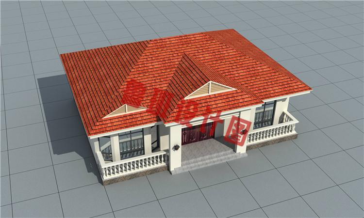精致一层农村自建别墅设计鸟瞰图