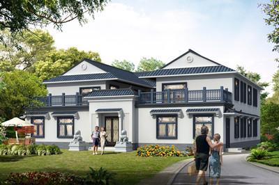 清新别致二层四合院房子别墅设计图,砖混结构