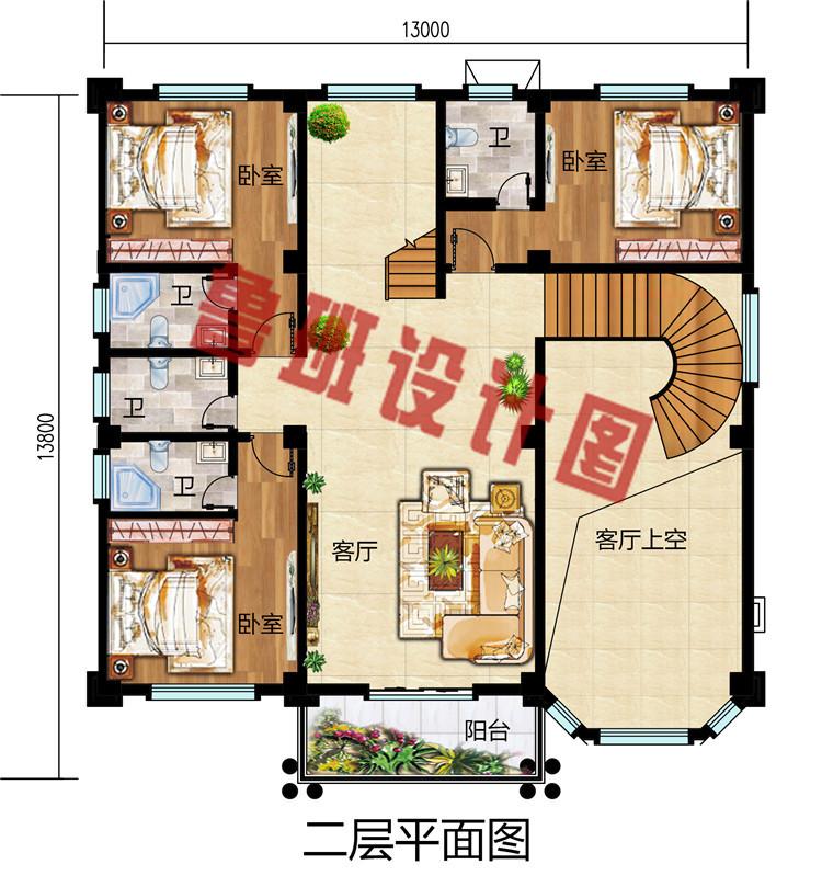 农村三层复式自建小洋楼房别墅设计图,外观尽显豪华