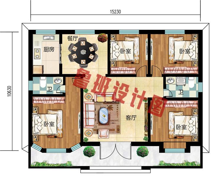 精致一层农村自建别墅设计图,布局合理,施工简单
