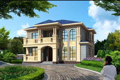 带庭院农村欧式二层别墅设计图,经济实用很舒适
