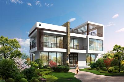 新款超现代平屋顶简约风格二层自建房设计图,户型方正