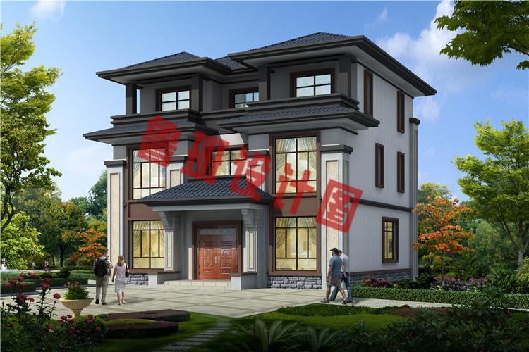 大气三层中式豪华别墅设计外观图