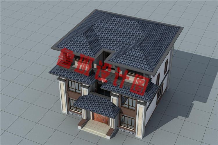 大气三层中式豪华别墅设计鸟瞰图