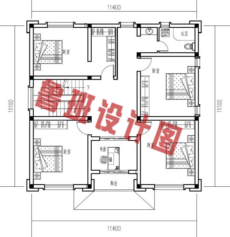 大气三层中式豪华别墅设计二层户型图