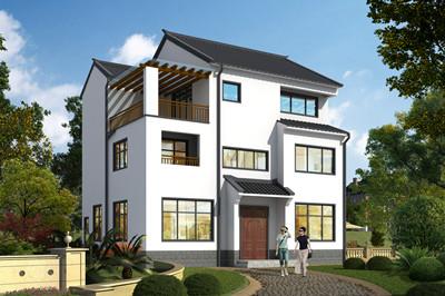新款徽派乡村三层别墅设计房屋图,11.5×10米别墅户型设计简单大