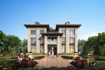 农村三层双拼别墅设计效果图及全套施工图,外观漂亮大气