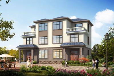 乡村三层简约风格双拼别墅设计图,兄弟自建造型左右对称