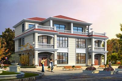 240平欧式乡村三层兄弟双拼别墅设计图,户型设计精美大气