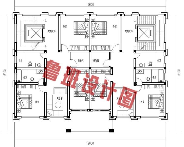 农村三层双拼别墅设计二层户型图
