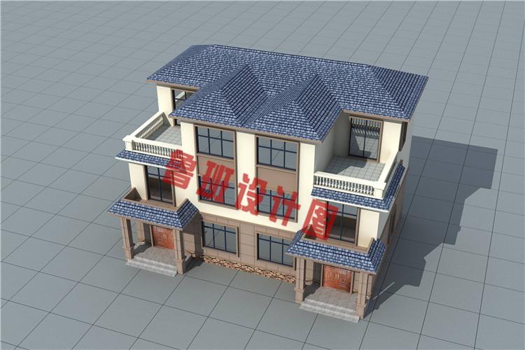 三层简约风格双拼别墅设计外观图