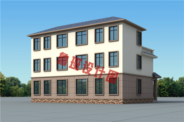 三层简约风格双拼别墅设计图片