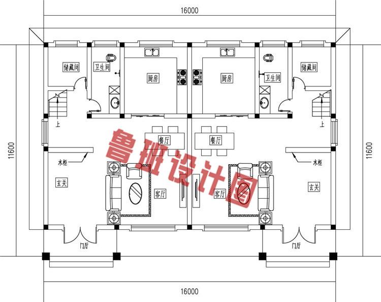 三层简约风格双拼别墅设计一层户型图
