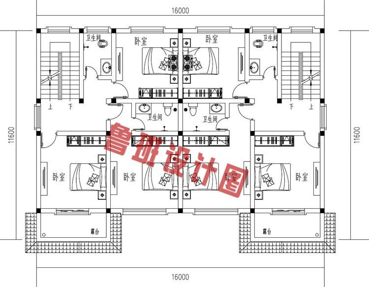 三层简约风格双拼别墅设计二层户型图