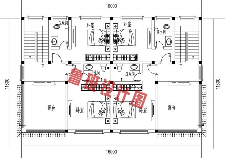 三层简约风格双拼别墅设计三层户型图