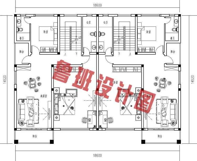 欧式乡村三层兄弟双拼别墅设计二层户型图